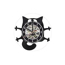 Cat Wall Clock, Kitten Art, Cat Wall Decor, Funny Cat Ornament, Cats Vinyl Clock, Cat LP Clock, Cat Design Art, Gifts for Cat Lovers