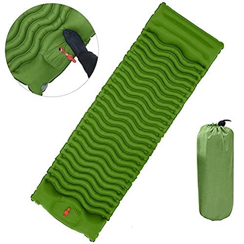 Auplew Colchoneta hinchable para camping, autoinflable, con prensa de pies portátil, con memoria, colchón para dormir, para senderismo, viajes, mochileros y playa