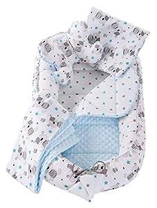 Juego de 5 Piezas Nido Bebé Recién 95x50cm Plantilla removible Medi Partners Cunas Nido para bebés Reductor de Cuna 100% Algodón (Peluche con un Minky Azul)