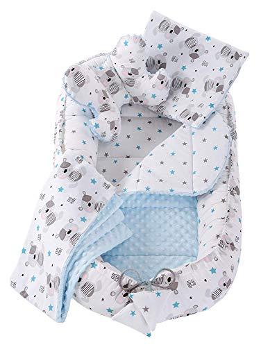 Juego de 5 piezas de nido para abrazar con nido de bebé de 90 x 50 cm extraíble inserto manta plana almohada mariposa almohada Medi Socios para bebés 100% algodón poddle dormir pod