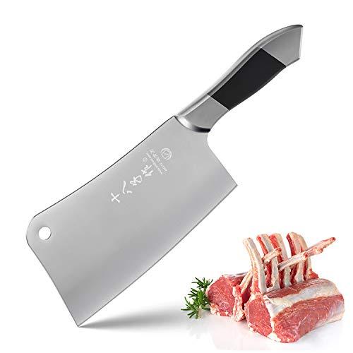 SHI BA ZI ZUO Heavy Duty Stainless Steel Bone Cleaver Knife for Home...