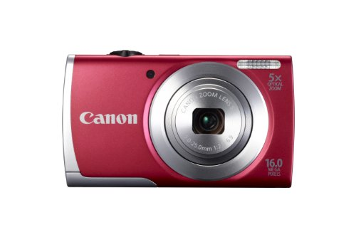 Canon PowerShot A2500 Digitalkamera (16 MP, 5-Fach Opt. Zoom, 6,9cm (2,7 Zoll) Display, bildstabilisiert) rot