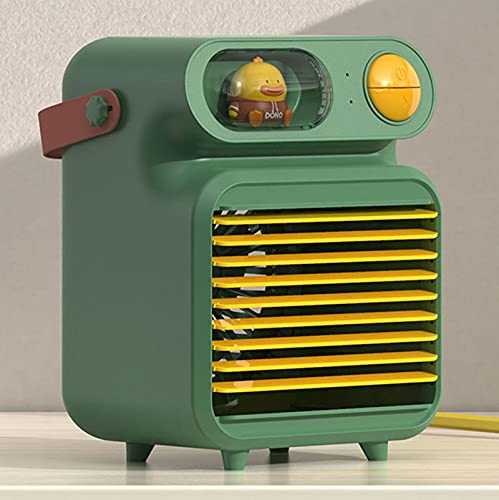 LBHH 3 en 1 Mini Enfriador de Aire,Aire Acondicionado Portátil,Humidificador con Mango,refrigerador de Aire para Trabajo y hogar4000 mAh,pequeño circulador de Aire,humidificador para casa,Oficina