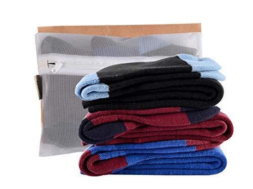 Laulax 3 paia di calzini da sci invernali per bambini, in cashmere, per sport invernali, set regalo per bambini, taglia 33-39, nero, blu, bordeaux