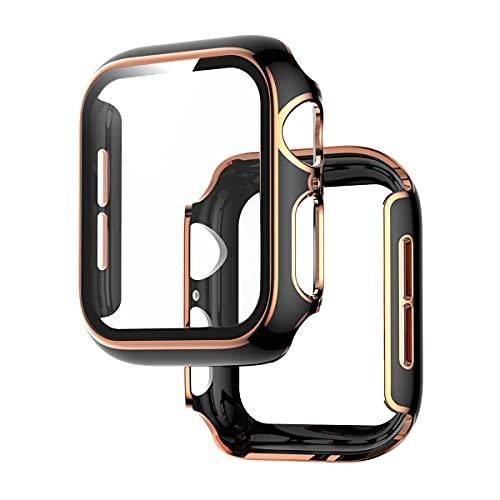 VeveXiao Compatible con Apple Watch Protector pantalla de vidrio templado integrado de 40mm, cobertura completa HD transparente, película protectora para iWatch Series 6/5/4/SE (negro oro rosa, 40mm)