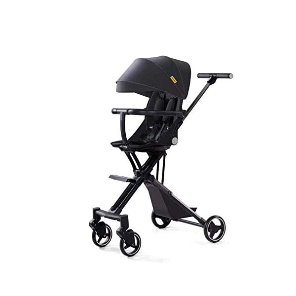 Artifact can stroll baby can seat reclining high landscape stroller lightweight foldable stroller (Color : Black (Extreme Edition)) Woodtree Type: stroller Function: Commutation Material: Aluminum 1