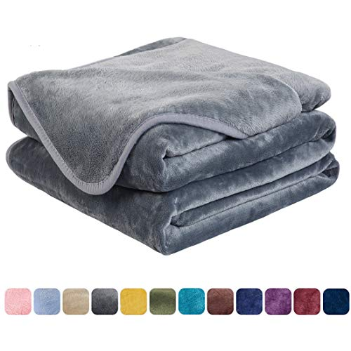 EASELAND Soft Queen Size Blanket All Season Warm Fuzzy Microplush Lightweight Thermal Fleece Blankets for Couch Bed Sofa,90x90 Inches,Gray