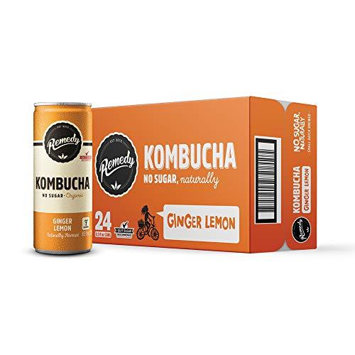 Remedy Raw Organic Kombucha - Sparkling Live Cultured Drink - Sugar Free Ginger Lemon - 8.5 Fl Oz Can, 24-Pack