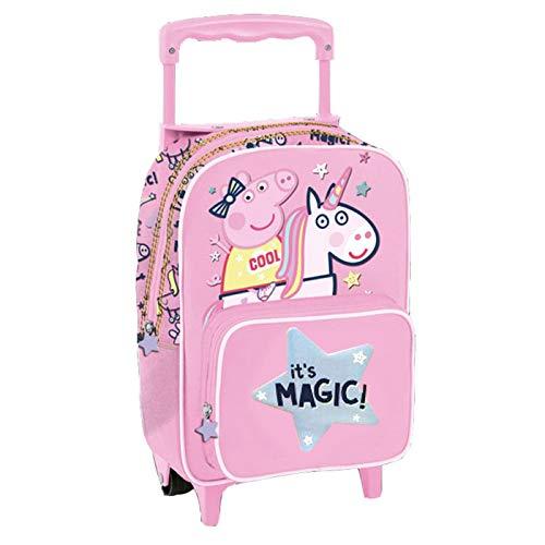 Copywritte Mochila Trolley Peppa Unicornio Infantil 35 CM  con Ruedas Color Rosa Unicronio