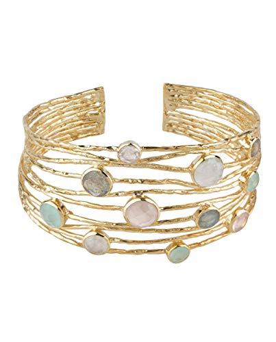 VIDAL & VIDAL Pulsera rígida Ajustable Chapada en Oro con Cristal y Piedras de Colores Pastel