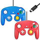 Gamecube Controller, Cipon Classic Controller Gamepad Compatible with Nintendo Gamecube/Wii, Upgraded - 2 Pack   Red&Blue