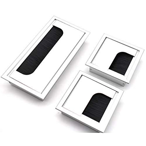 Tianher Eckig Kabeldurchlass Kabeldurchführung,Aluminium Silber Eloxiert Bürstendichtung Schreibtisch Einfügen Eindrücken Kabelorganisation Kabeldurchlass 2Stück 80 * 80mm+1Stück 80 * 160mm