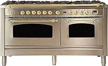 Ilve UPN150FDMPI Nostalgie Series 60 Inch Dual Fuel Convection Freestanding Range, 8 Sealed Brass Burners, 5.99 cu. ft. Total Oven Capacity in Stainless Steel, Brass Trim (Natural Gas)