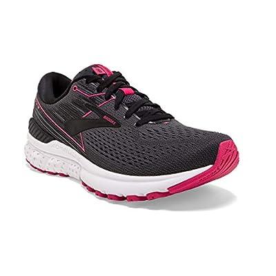 Brooks Womens Adrenaline GTS 19 Running Shoe - Black/Ebony/Pink - B - 8.5
