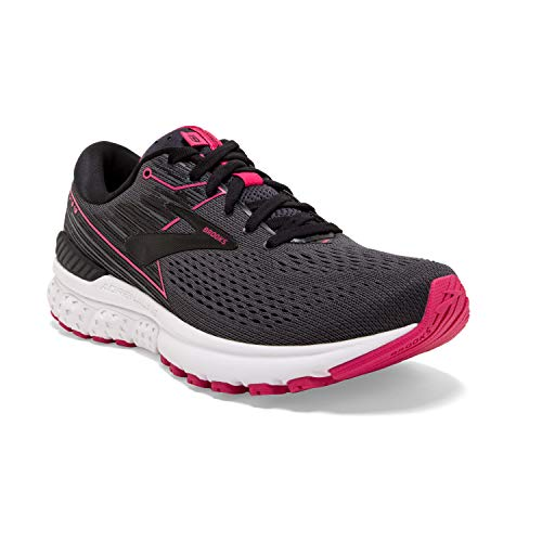 Brooks Womens Adrenaline GTS 19 Running Shoe - Black/Ebony/Pink - B - 8.5