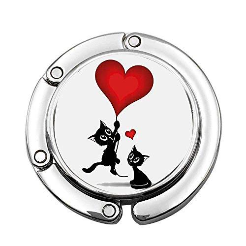 Bebé Gato sosteniendo Globos en Forma de corazón Amor romántico ilustración temática Colgante de Bolso portátil Personalizado Barra de Mesa