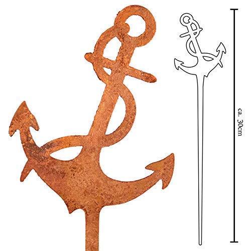 Galionsfigur Anker | Designer Blumenstecker Edelrost - 30cm hoch, maritimes Design, Nordsee, Ostsee, Made in Germany