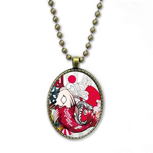 YaoX Art Fish Koi Japón patrón collar vintage cadena colgante joyería colección
