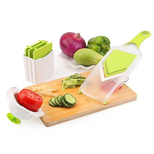"""Uten Mandolina para Alimentos Corte""""V"""", 4 Cuchillas de Acero Inoxidable 304, Máquina de Cortar para Patatas/Zanahorias / Pepinos/Zucchini / Rábano/Queso, Color Blanco + Verde"""