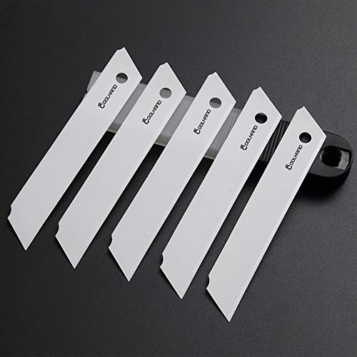 Cool Hand Snap Off Utility Knife Blades 18mm 5-Pack,Quality Zirconia Ceramic, Sharper, Replacement Blades for Box Cutter/Utility Knife