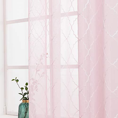MIULEE 2er Set Voile Marokko Vorhang Sheer mit Ösen Transparente Optik Gardine Ösenschal Wohnzimmer Fensterschal Luftig Lichtdurchlässig Dekoschal für Schlafzimmer 160 x 140cm (H x B) Rosa