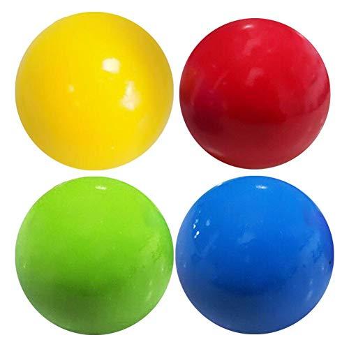 4 Stück Sticky Balls Für Die Decke, Sticky Ceiling Balls, Stress Relief Balls Können An Die Decke Oder Wand Geklebt Werden, Völkerball-Spiel Jonglierball Spiel Fangball Für Kinder Eltern