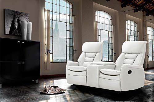 lifestyle4living Kinosessel 2-Sitzer in Weiß, Kunstleder | Hochwertiger, Verstellbarer 2er Heimkino-Sessel mit 2 Getränkehaltern für Bequeme Heimkino-Abende