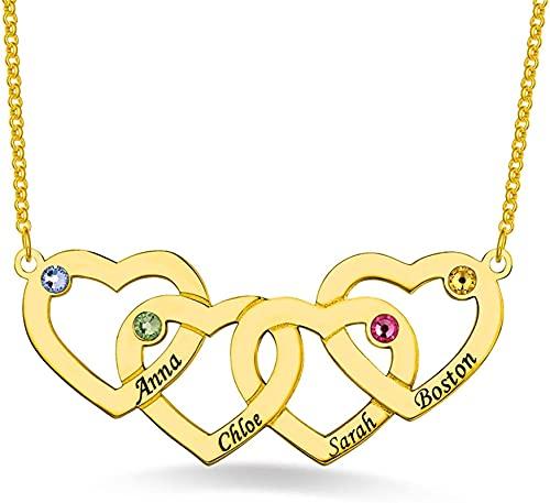 Lakabara collar de plata de ley 925 para mujer entretejido en forma de corazón con piedra de nacimiento, collar de apellido, colgante en forma de corazón Gold-4 Hearts