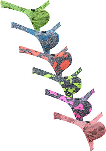 iKingsky Men's Camouflage Thong Underwear Big Pouch T-Back Under Panties Enhance Underwear (Large, 6 Pack)