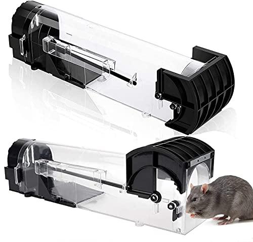 VINNAR 2 Stück Mausefalle Lebend, Mausfallen Schlagfalle Lebendfalle Maus für Garten und Haus,Rattenfalle mit Lockstoff,Wiederverwendbar und Tierfreundliche,Hygienisch