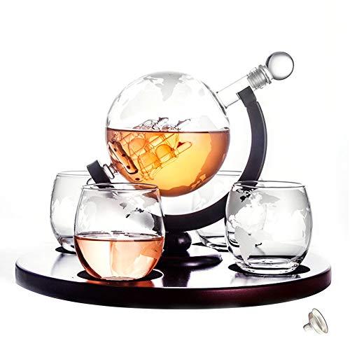 WANGIRL Elegante Garrafa de Whisky de Vidrio Botella de Whisky Juego de Jarra de Whisky de Vidrio 4 Vasos de Globo Grabados con Barco de Vela Set de Regalo para Navidad 5 Piezas Único (Color : C)
