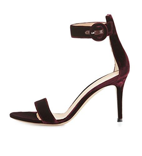 EDEFS Damenschuhe High Heels Bordeaux Peep Toe Knöchelriemen Sandaletten mit Schnalle Größe EU38