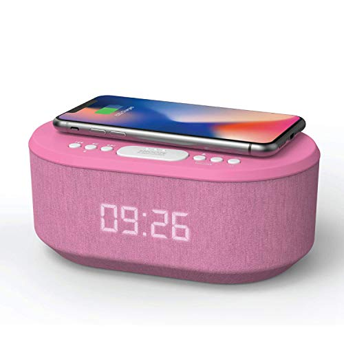 Bedside Radio Alarm Clock with USB Charger, Bluetooth Speaker, QI Wireless Charging, Dual Alarm & Dimmable LED Display (Pink)