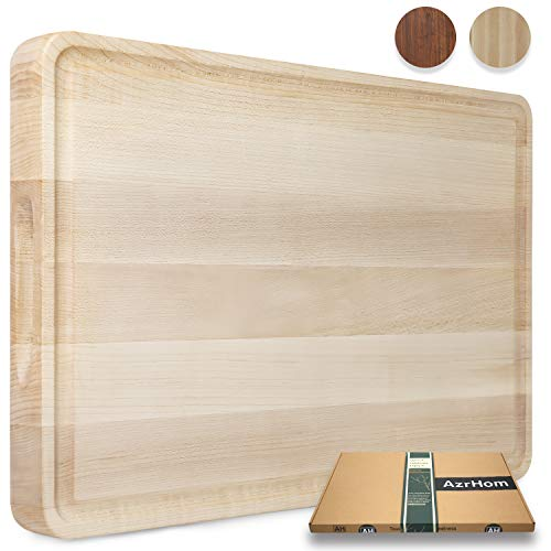 Wood Cutting Board Large Maple 18x12 Inch Reversible with Handles and Juice Groove, Thick Butcher Block Chopping Board Carving Cheese Charcuterie Serving Handmade by AzrHom (Bonus Gift Box)