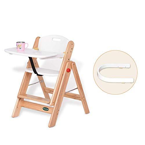 YLCJ hoge stoelen voor eettafelstoelen voor baby, eetkamerstoel van massief hout voor eettafel, opvouwbaar en draagbaar (kleur: wit, maat: groot) Large Wit