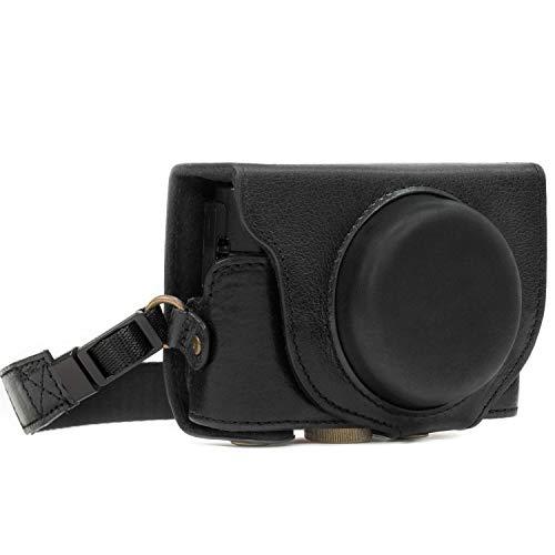 MegaGear MG874 Ever Ready Echtleder Kameratasche mit Trageriemen für Sony Cyber-shot DSC-RX100 VI, DSC-RX100 V, DSC-RX100 IV - Schwarz