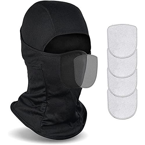 WUZJ Balaclava-Ski-Maske mit Filtern für Männer, Winterwinddichte Ski-Gesichtsmaske mit 4 Filtern, thermischer Fleece-Voll-Gesichtsmaske-Helm-Liner für Motorradski-Snowboarding