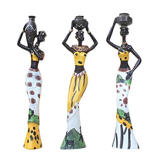 ALEOHALTER Escultura africana, figura de resina para niñas, señora, figura de niña africana, figura exótica, esculturas de arte, adorno para la decoración doméstica, 3 unidades