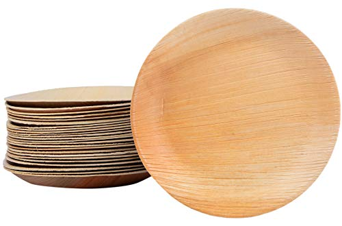 25/100/200 Palmblattteller Einwegteller rund Ø25 cm, aus Palmblatt 100% kompostierbar, umweltfreundlich stilvoll Palmblattgeschirr Set für BBQ, Party, Grillen Outdoor