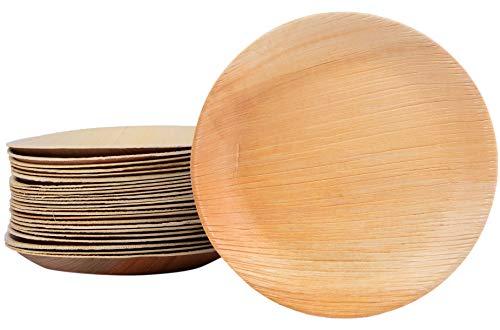 25 placas de hoja de palma placa desechable redonda 20 cm, hecha de hoja de palma 100% compostable, eco-friendly elegante vajilla de hoja de palma para barbacoa, fiesta, asado a la parrilla al aire