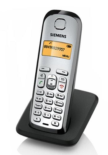 / Siemens Gigaset AS28H AS28 H colour plata-negro, teléfono inalámbrico con base para carga
