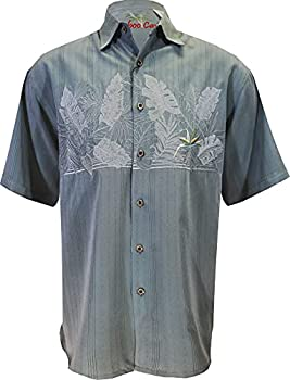 Bamboo Cay Mens Short Sleeve Casual Hawaiian Chest Bird of Paradise Embroidered Button Up Shirt  Large Ocean