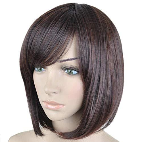 Der Femme Vogue Courts Raides Marron Perruques de Cheveux synthétiques 6 Couleurs Disponibles ( Color : Brown Mixed , Stretched Length : 12inches )