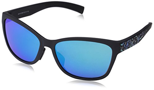 adidas Womens Excalate Round Sunglasses, Black Matte Floral, 58 mm