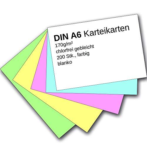 Karteikarten 200 Stück A6 farbig blanko