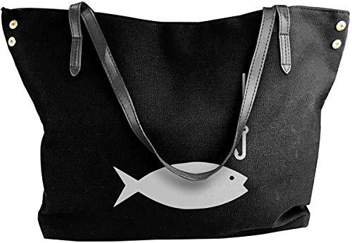 doga Damen Mädchen Canvas Schulter Handtaschen, Bent Angelrute Clipart stilvolle Schultaschen