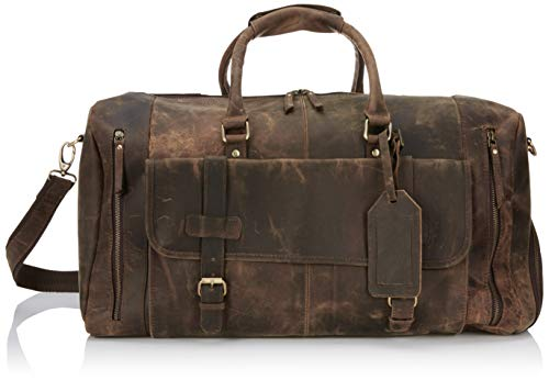 Leather Travel Luggage Bag, Mens...