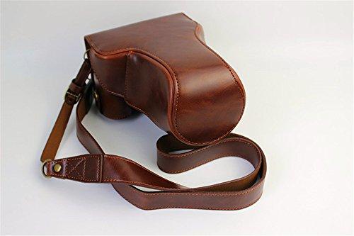 Eos M3 Camera Case, Zakao PU Fullbody Bottom Opening Versie Beschermende Lederen Camera Case Bag voor Canon EOS M3 18-55mm 55-200mm Lens met Schouderband, Koffie