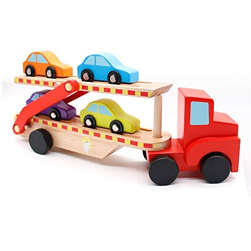 yoptote Camion - Tren Juguete Madera Bloques Construccion Bebe Doble Carro Plegable...