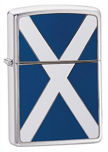 Zippo, Accendino a Prova di Vento con Bandiera della Scozia, in Cromo Spazzolato